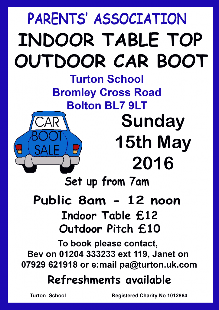 Car Boot And Indoor Table Top Sale Sunday 15th May 2016
